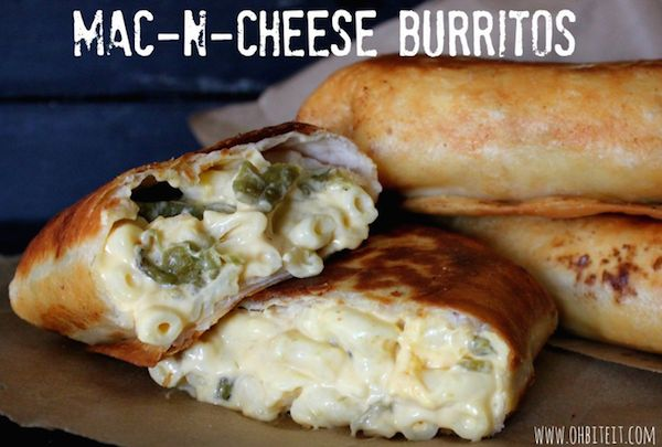 Mac N' Cheese CHIMICHANGAS (not burritos). Delicious. Maybe throw in some taco meat too.