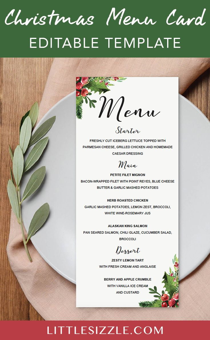 Christmas Menu Card Template Dinner Party Table Settings Christmas Dinner Table Settings Christmas Menu