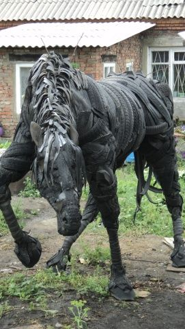 Horse sculpture made from old tyres. Recycled art