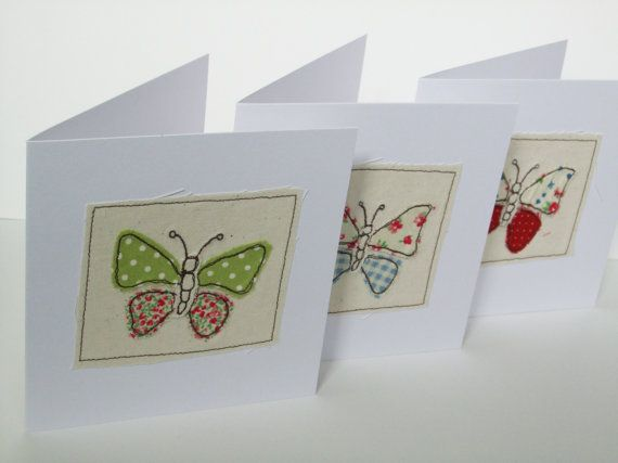 Butterfly Card - Machine Embroidered Greeting Card - Handmade Card