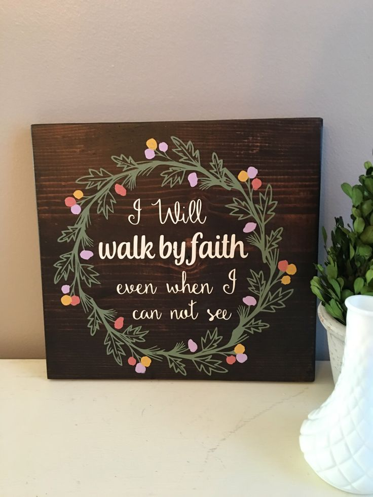 Stained Wood Wall: Walk By Faith-Wood Signs