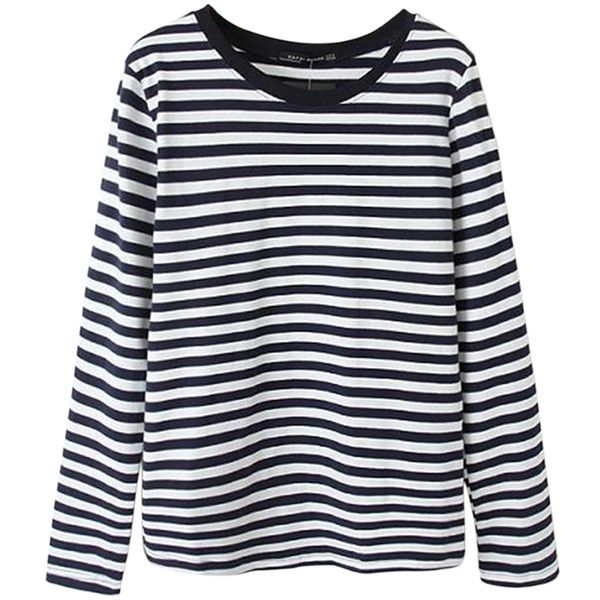Black Simple Ladies Stripe Long Sleeve Pullover T-shirt ($18) ❤ liked on Polyvore