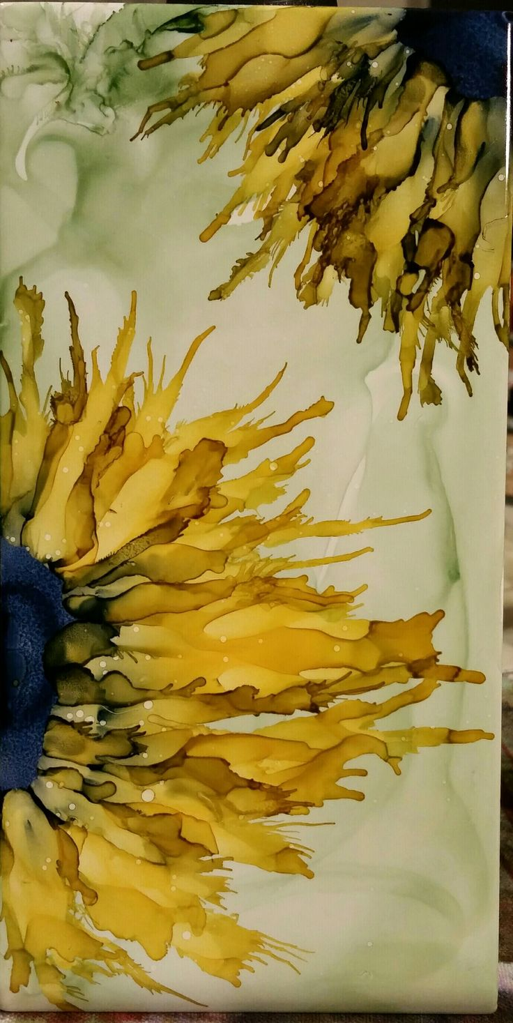 Sunflowers in alcohol ink on 8x4 ceramic tile by Tina