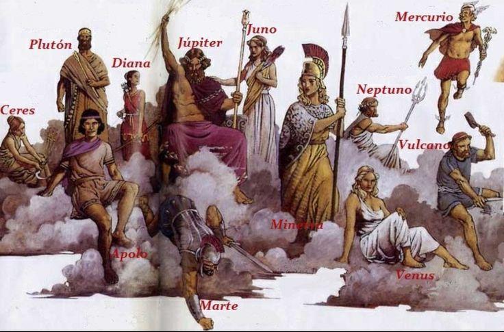 Los romanos eran politeístas,sus dioses derivaban de los griegos pero le cambian sus nombres y también adaptan sus atributos divinos.