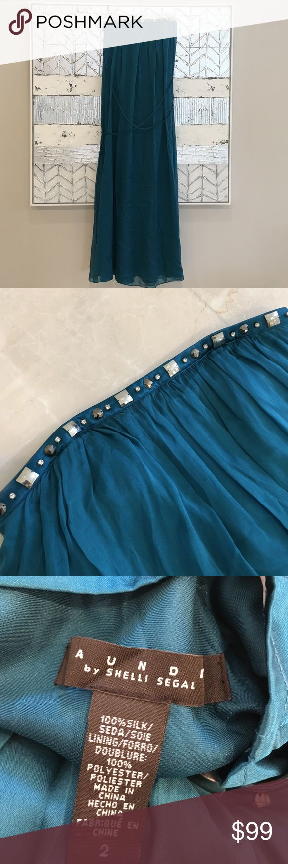 LAUNDRY by Shelli Segal Silk Dress LAUNDRY by Shelli Segal Silk Dress. Used only once for a wedding. Dark Aqua/Teal color. Laundry by Shelli Segal Dresses Strapless