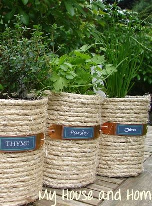 Herb - Sisal wrapped coffee cans - cute Idea for gifts too!