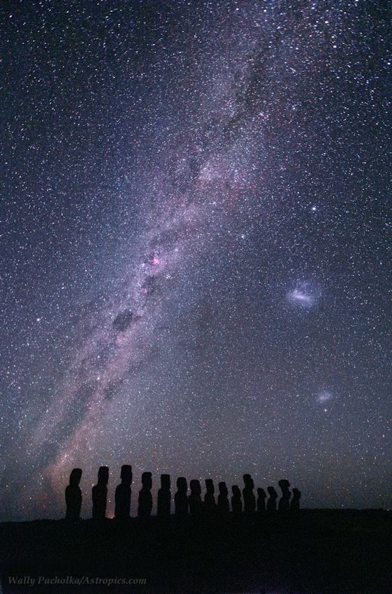 Silhouetted against the southern Milky Way and starry sky of Easter Island, are large statues, locally called Moais, remained from 13th to 15th century.