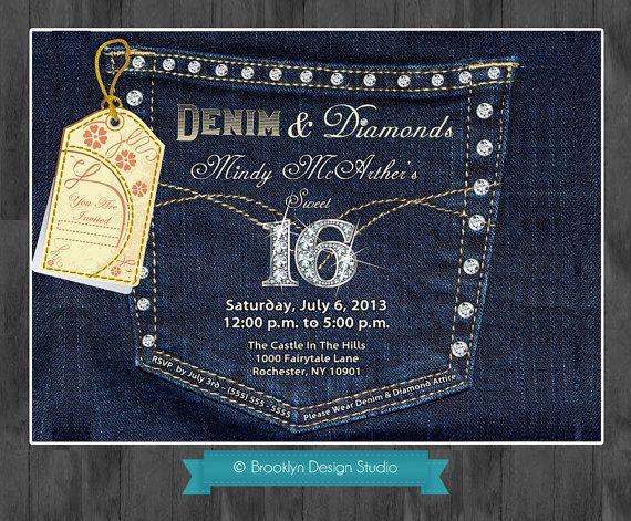 denim and diamonds denim pocket with bling custom designed
