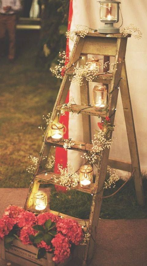 Would love to do this to use for passed family members photos (I have batter operated LED string lights so the ladder could be placed anywhere in the barn)