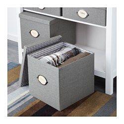 IKEA - KVARNVIK, Kasten mit Deckel, grau, 32x35x30 cm, , Praktisch für Zeitungen, Zeitschriften, Fotos usw.Mit Etiketten und -halter für einfaches Markieren und schnelles Wiederfinden.