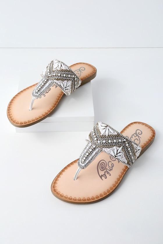 8089bd50741d6a  Valentines  AdoreWe  Lulus -  Lulus Amare White Rhinestone Thong Sandal  Heels -