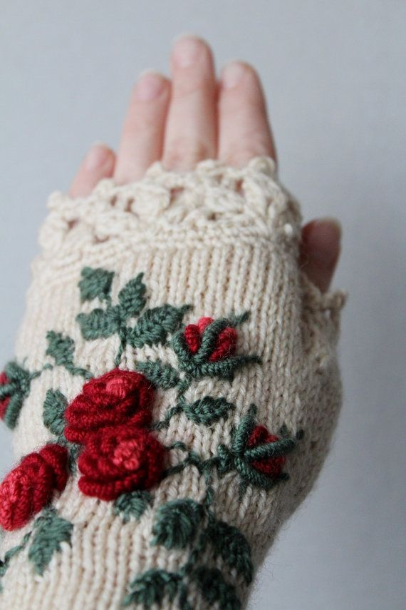 Gebreide Vingerloze handschoenen van nbGlovesAndMittens op Etsy