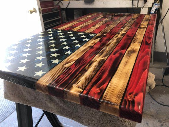 Rustic Wooden Color American Flag Charred American Flag