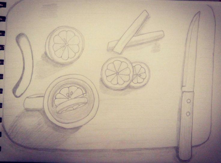 #Чай с лимоном, карица, нож (простой карандаш) #Альбом для рисования