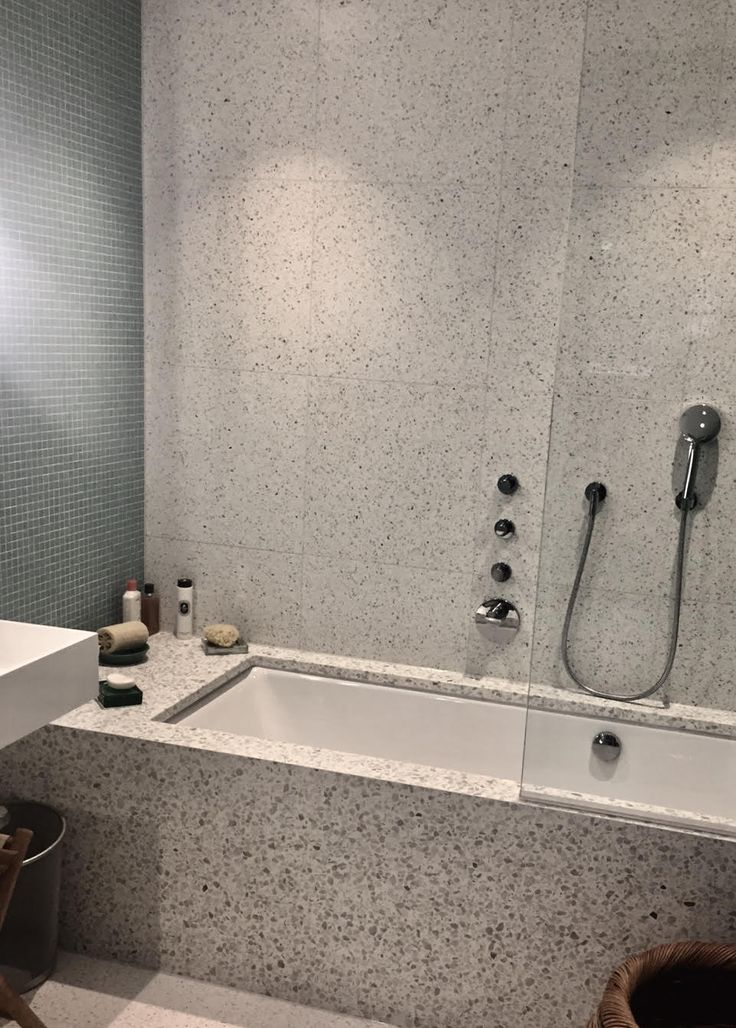 Alameda Honed Terrazzo, tiles, bath panel and bath surround. #terrazzotiles