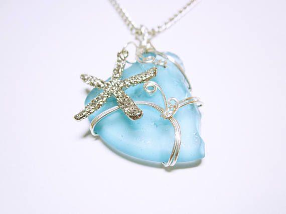 SEA GLASS PENDANTS Blue #Nautical Sea Glass Silver Wrap Pendant Silver Starfish Charm Blue Sea Glass Necklace Nautical #Gift Ideas     A Very Beautiful Piece Of Sky Blue Sea ... #seaglass #seaglaspendant #nauticalnecklce #giftidea #giftforher #fashion