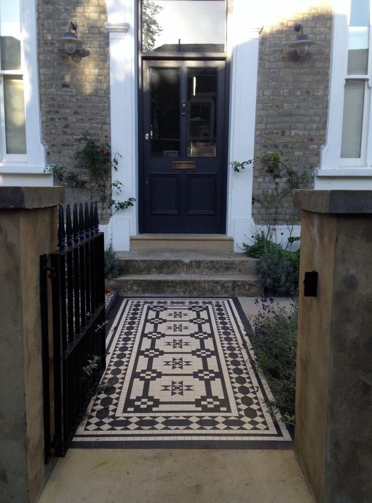 Islington Victorian mosaic tile path York stone sandstone paving wrought iron rails and gate London (34)