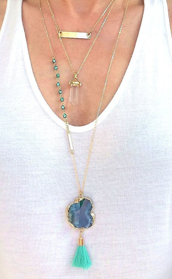 Turquoise Druzy Agate Tassel necklace, boho statement necklace, layering necklace, tassel necklace, gold dipped agate slice, long necklace