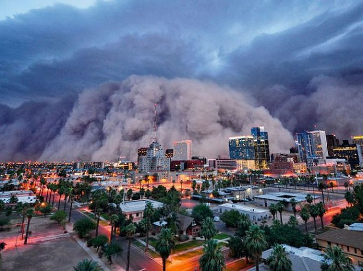 Phoenix dust storm, no we don't have much rain, no tornados or hurricanes or fog... we just have dirt... Arizona