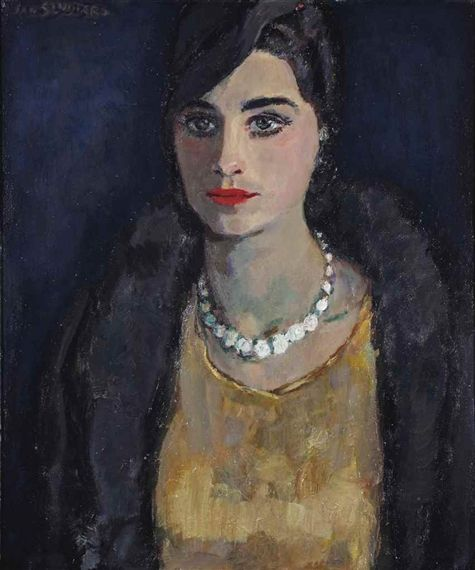 Jan Sluijters - Elegant woman with a pearl necklace; Medium: oil on canvas; Dimensions: 23.62 X 19.88 in (60 X 50.5 cm)