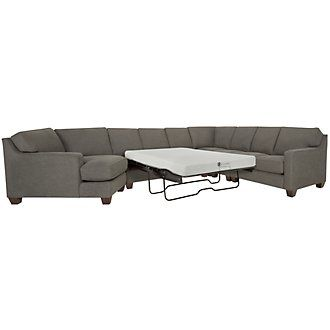 York Dark Gray Fabric Large Left Cuddler Memory Foam Sleeper Sectional