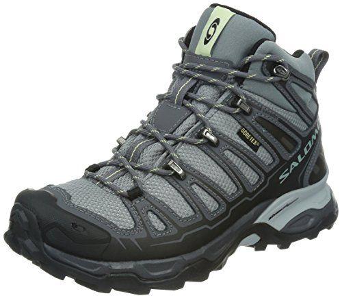 Salomon Women's X Ultra Mid GTX W Hiking Shoe,Pearl Grey/Dark Cloud/Green Tea,8 M US