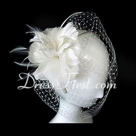 Gorgeous tyll med Feather Bröllop Brud Headpiece (042025099)