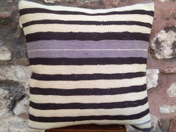 20' x 20' Handmade Adana Kilim Pillow Cover, 50 years old rug, black and white and purple striped, organic, natural cushion, vintage 1950s.