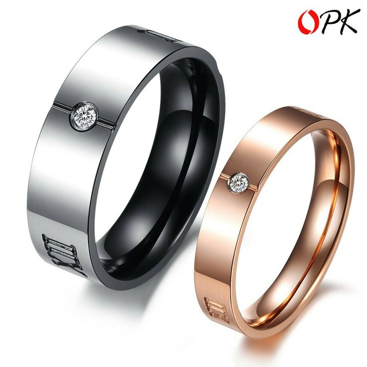 OPK JEWELRY Titanium Steel Couple Ring, Cool Black style for Men Ring + Cute Rose Gold Style for Women Ring, Free Shipping 379 US $7.40