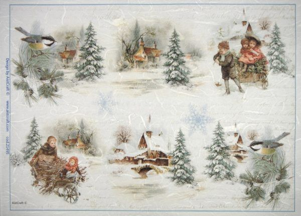4 Single Paper Napkins for Decoupage Winter Christmas Church
