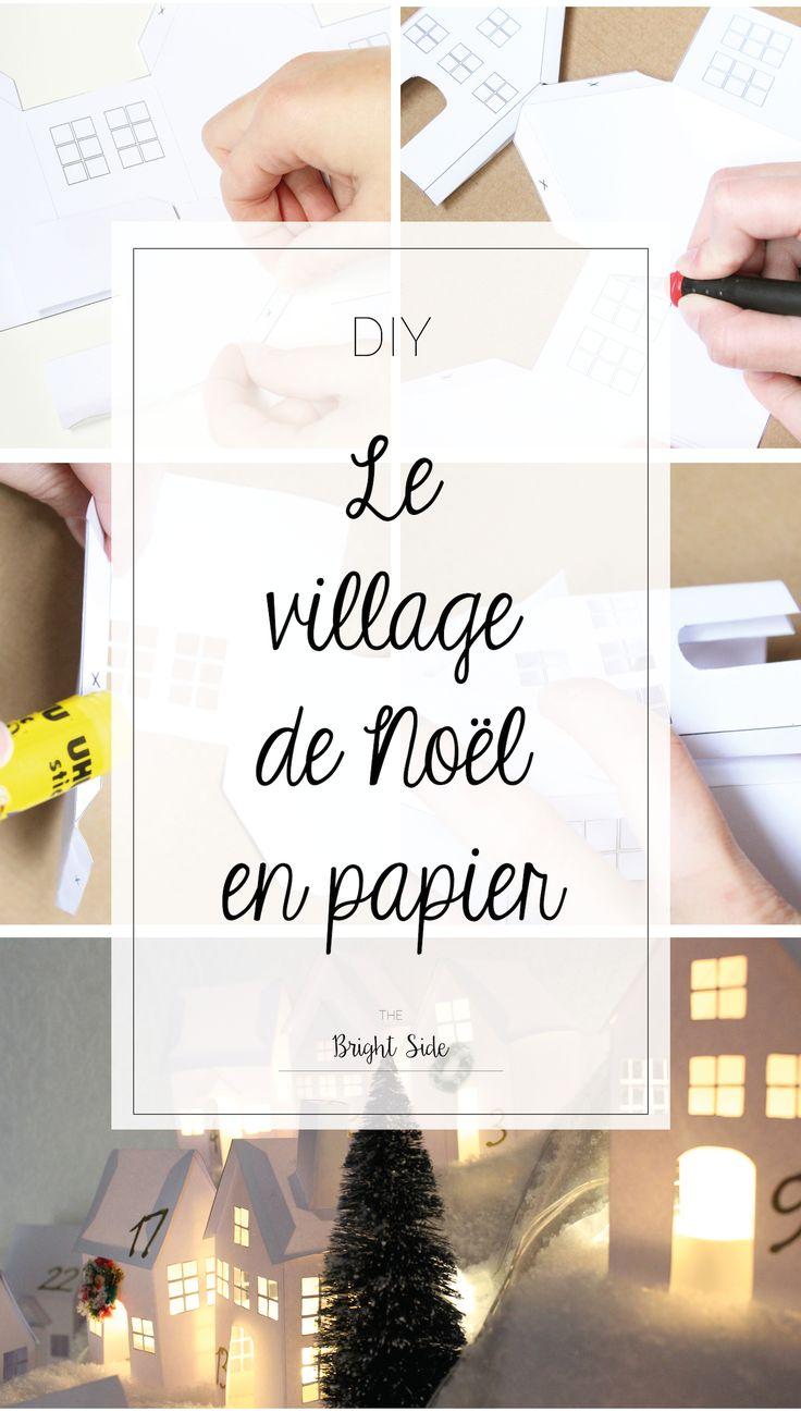 Réaliser ce joli DIY village de Noël en papier. Mettez-y des petites bougies LED pour le transformer en village lumineux !