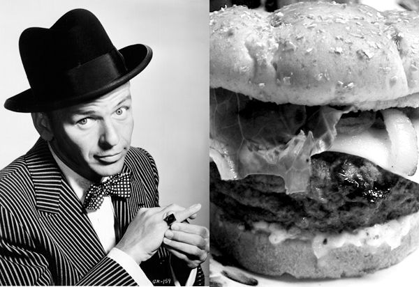 How to Make a F—ckin' Frank Sinatra Burger    Recipes          In case you've been wondering how to cook burgers like a boss, look no further than this recipe signed by Ol' Blue Eyes himself (steps paraphrased after the jump):
