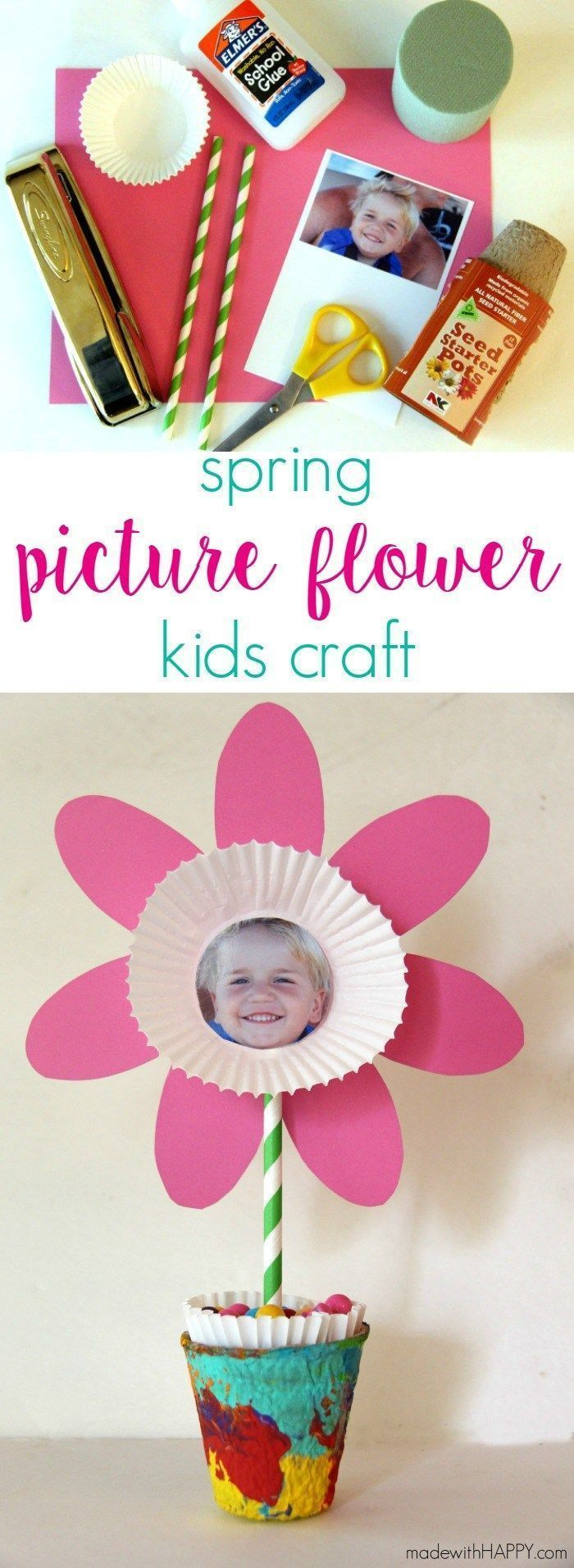 Paper Flower Kids Craft   Cute Picture and Free Printable Flower Craft   Perfect Mother's Day Kids Craft   Spring Flower Kids Craft   http://www.madewithHAPPY.com