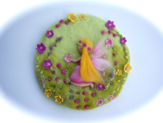 Flower child Fairy,Spring,Picture,tapestry,Wet felted,Needle Felted. Waldorf