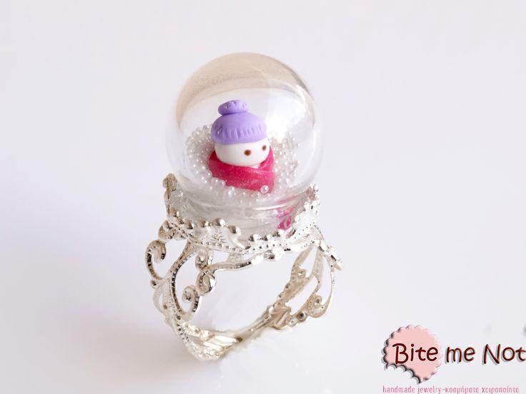 ''Snowman globe ring''