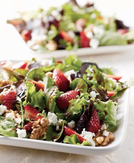 Spring Mix Salad with Strawberries, Walnuts and Goat Cheese--This is a Costco recipe?! Seems fitting since we just bought a giant container of spring mix from there!  I need lots of recipes so we get bored with the same ol' thing...