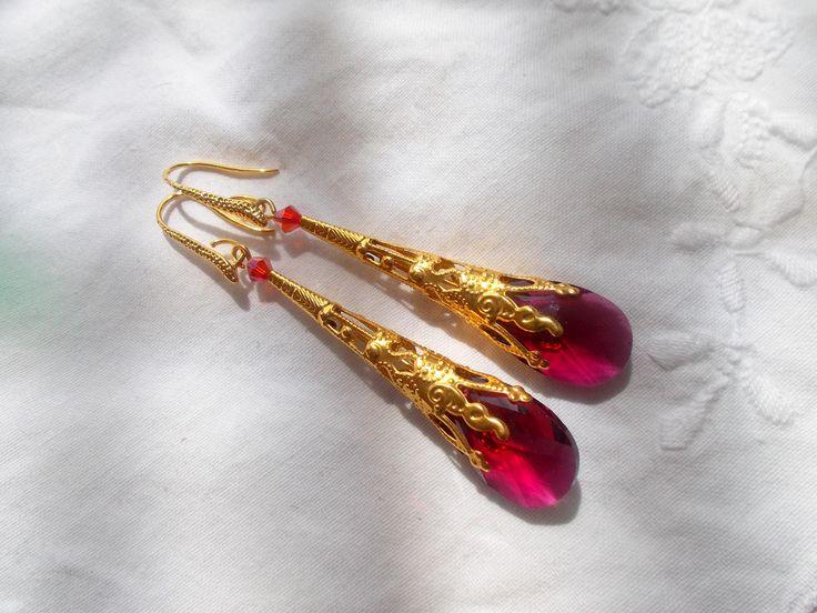 Swarovski Ruby Gold Filigree Drop Earrings by RicePaperJewels on Etsy