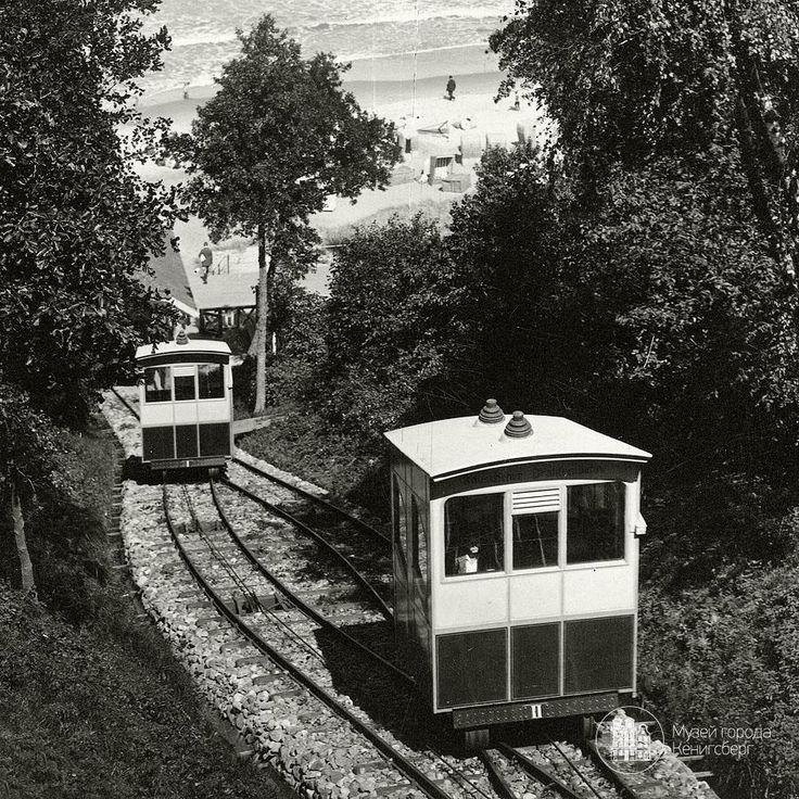 Раушен. Спуск к морю в вагончиках. Фото ок. 1930 г.
