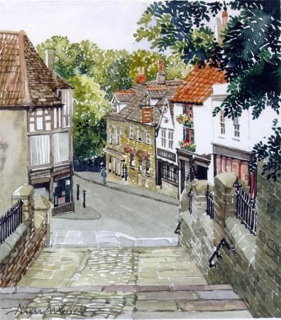 Church Steps Frome by Ann March, Ann March, Highworth Artists' Society Highworth Artists' Society, SAA Professional Members' Galleries
