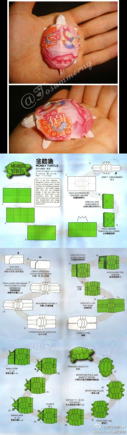 oragami turtle 金钱龟DIY. Must somehow make sense of this...