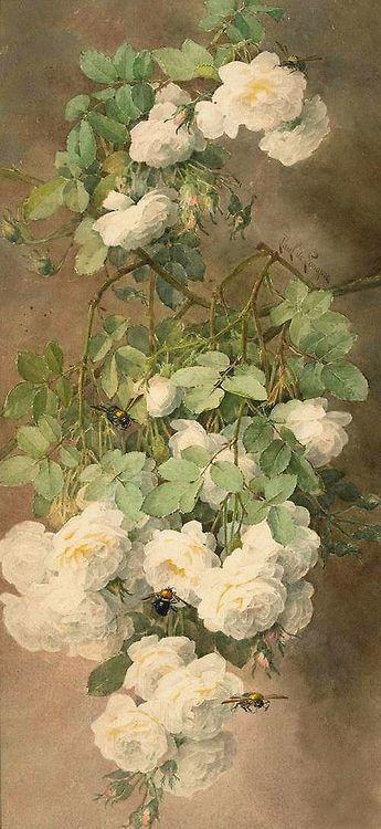 Paul de Longpré 'White Roses and Bumblebees' c.1900