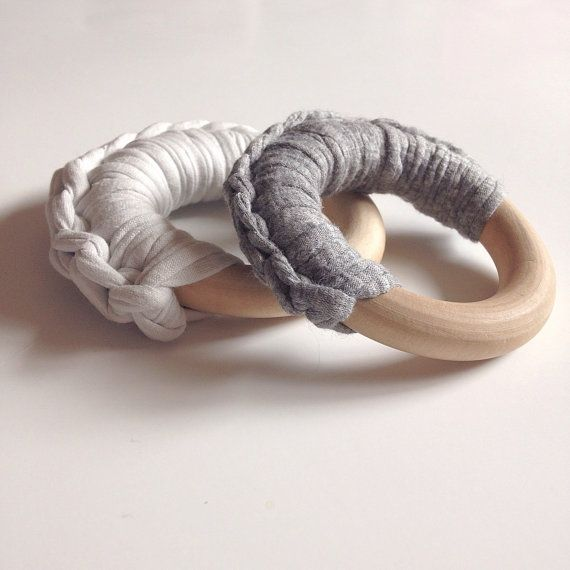 Fabric Yarn Crocheted Ring Teether  Eco-friendly wooden by NomiLu