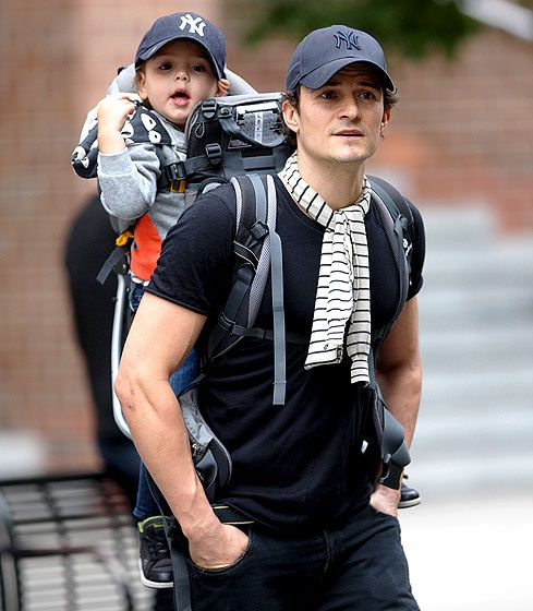 Orlando Bloom and son Flynn wearing Yankee caps in NYC!