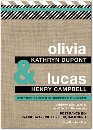 Signature White Wedding Invitations Burlap Backdrop - Front : Maple