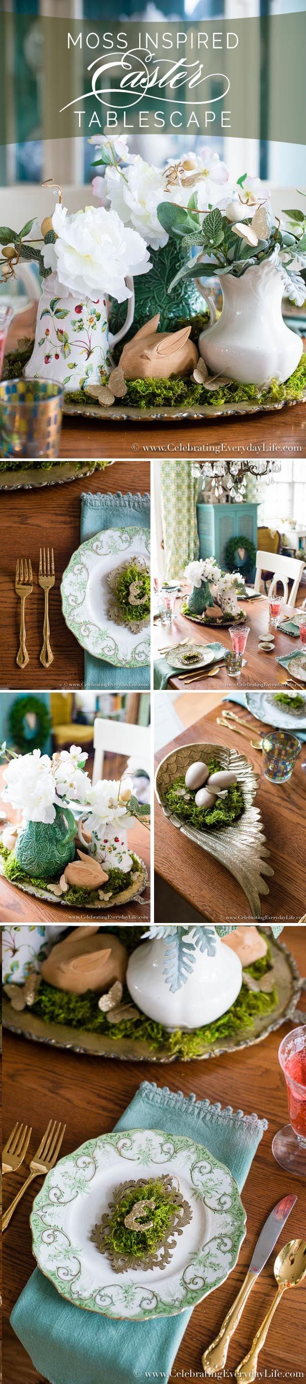 Create a simple Easter tablescape with Moss! An Elegant Easter table doesn't have to be complicated. Go natural this year Easter decor, Celebrating Everyday Life with Jennifer Carroll