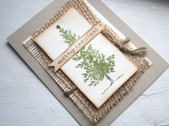 Christmas/Holiday Cards - Rustic Burlap Christmas tree-  Bundle of 10