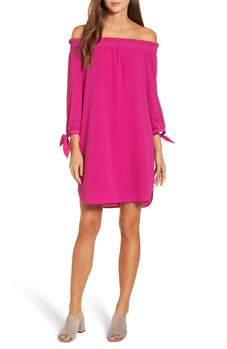pink off the shoulder dress on sale in the nordstrom anniversary sale