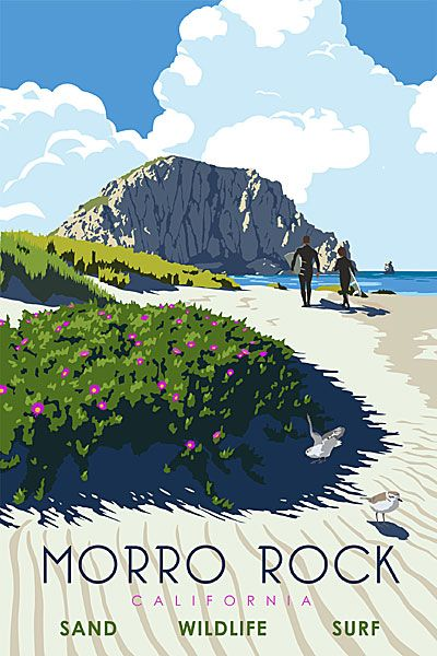 Morro Rock, California. Posters by Steve Thomas.