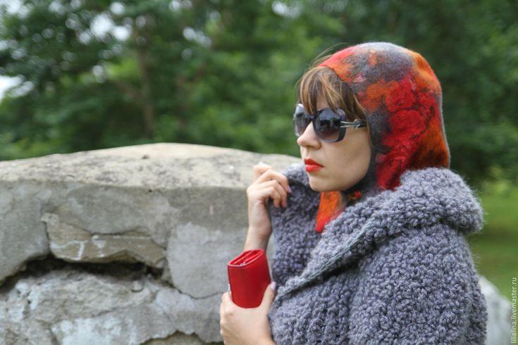 Купить Капюшон, капор валяный Осенние цветы - комбинированный, цветочный…