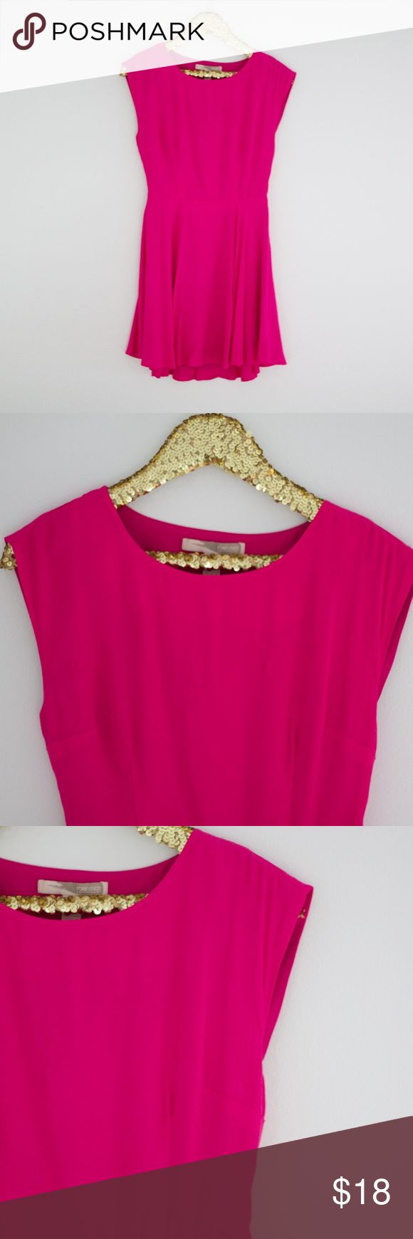 Forever 21 Contemporary Scallop Back Pink Dress Forever 21 Contemporary Scallop Back Pink Dress | The open back detail on this dress gives this dress some real punch and the bright pink color is to die for! Styling Tip: Accessories with subtle gold jewelry! Forever 21 Dresses